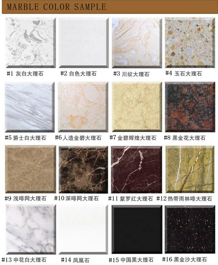 Marble counter top sample color