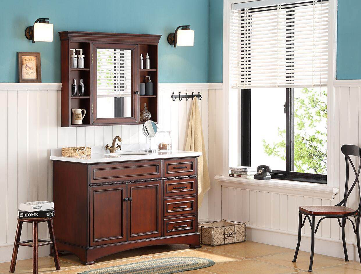 48inch bathroom vanity cabinet with marble top MG-SB101