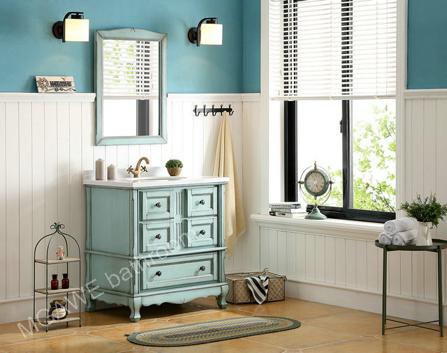 36inch bathroom vanity cabinet light blue color aging treatment  with marble top MG-SB102
