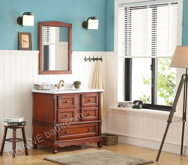 36inch bathroom vanity cabinet light brown color aging treatment  with marble top MG-SB102