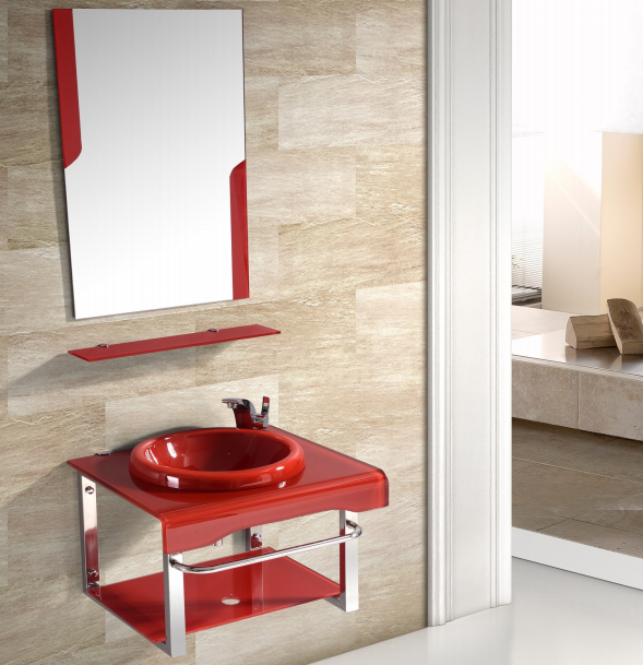 60cm Small Size Tempered Glass Wash Vanity With Frameless Mirror