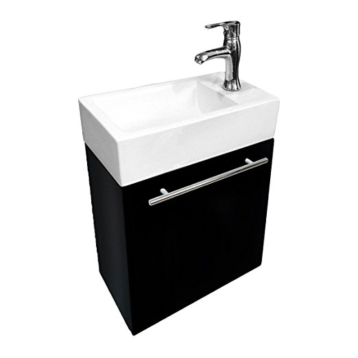 Bathroom Sink White Vanity With Towel Bar Faucet And Drain Wall Mount Storage