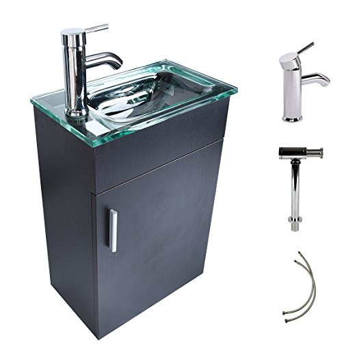 16 Inches Bathroom Vanity Modern Lavatory Wall Mounted Vanity Set in Black Clear Tempered Glass Vanity Top Counter Top Sink