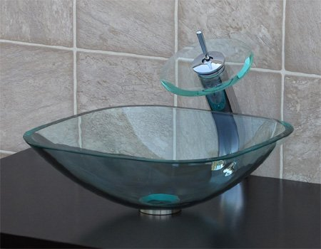clear Square Glass Vessel Sink chrome waterfall Faucet  free Pop Up Drain  Mounting Ring