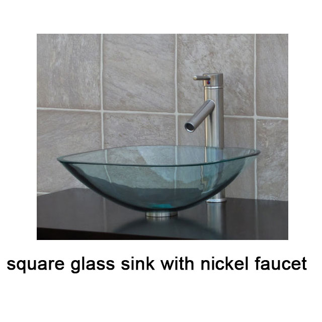 clear Square Glass Vessel Sink chrome waterfall Faucet free Pop Up ...