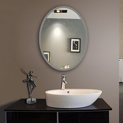 Oval Shape Bath Led Mirror With Frosted Gl