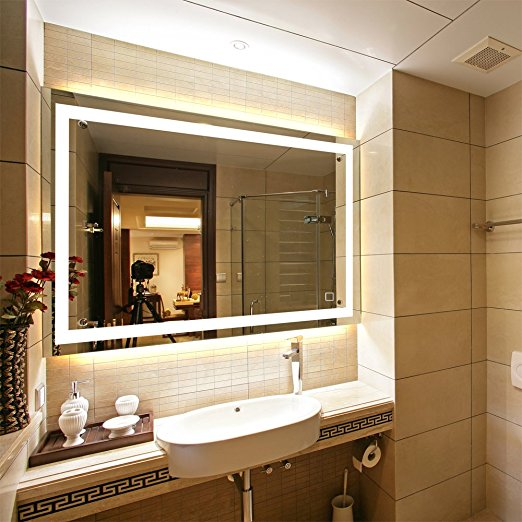 ... Dimmable LED Backlit Mirror Anti Fog Illuminated Vanity Mirror Bathroom  Mirror With Touch Button And ...