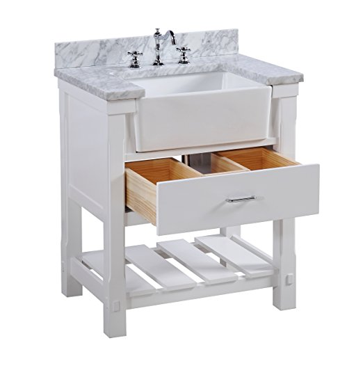 30 Inch Bathroom Vanity Carrara Marble Counter Top Gray Cabinet With Soft Close Drawers Farmhouse Apron