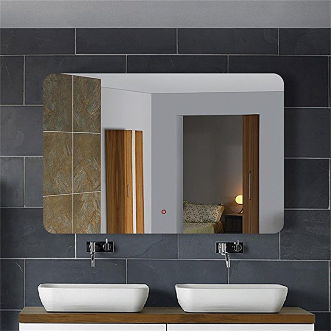 Horizontal Led Lighted Vanity Bathroom Silvered Mirror Touch On Make Up Wall Bar