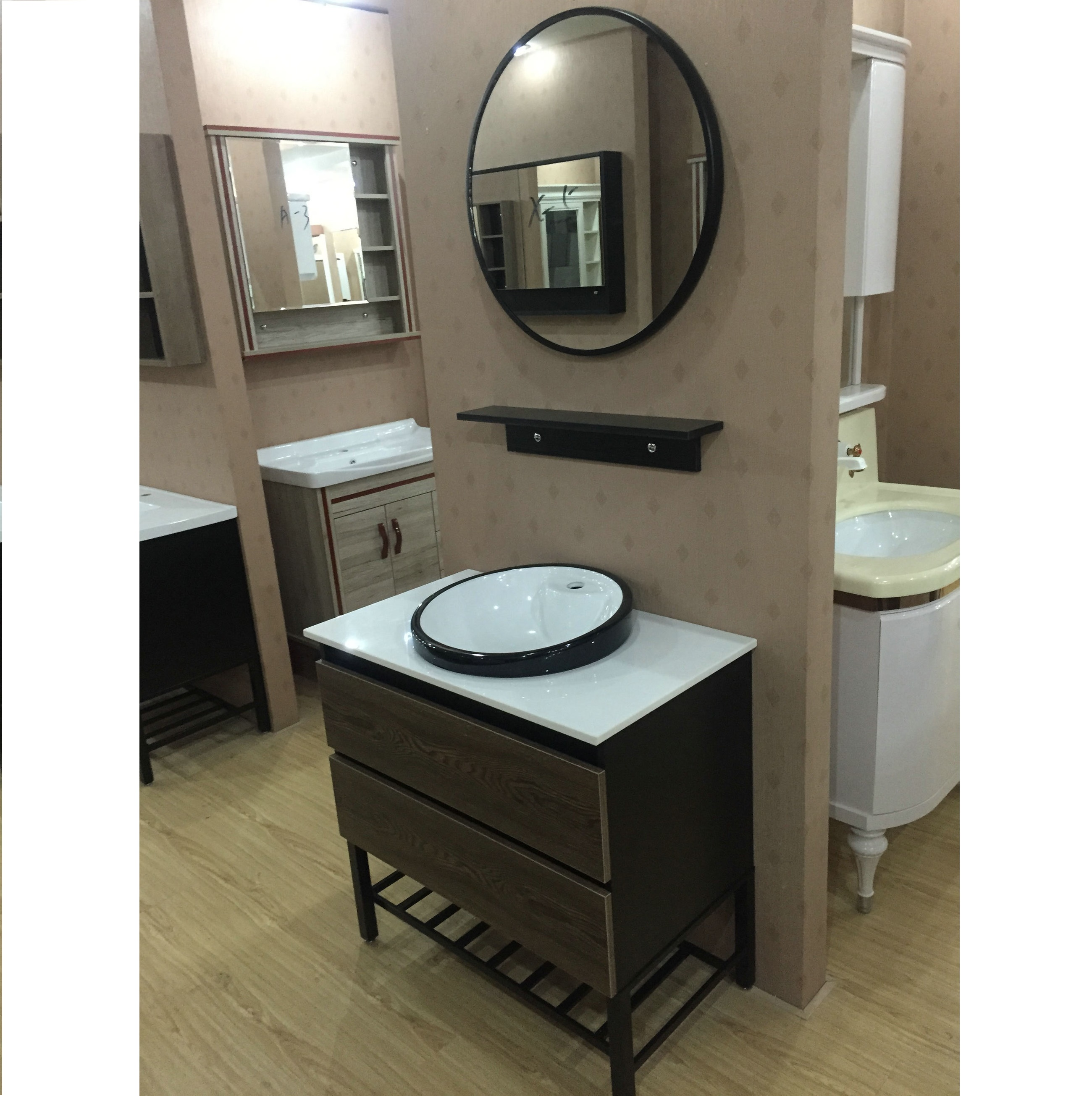 80cm bathroom vanity cabinet with counter top and above in basin and metal shelf legs