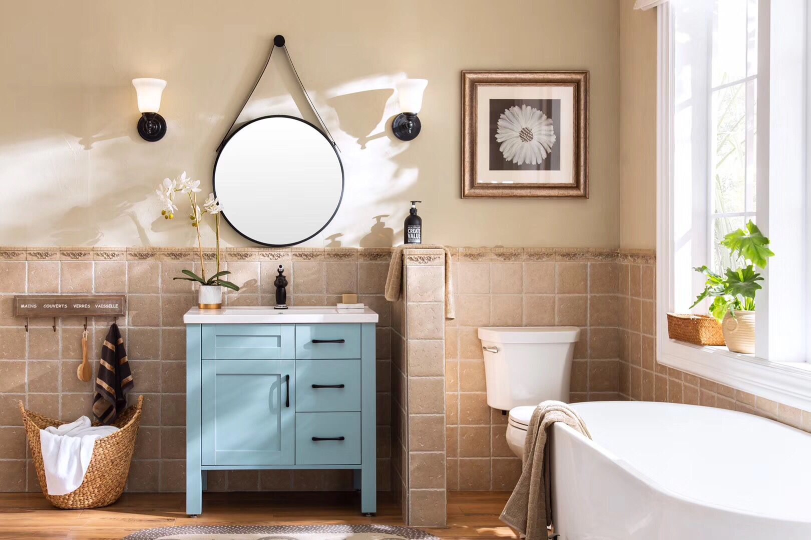 Light Blue Bathroom Vanity With Medicine Cabinet And Round Iron Frame Mirror