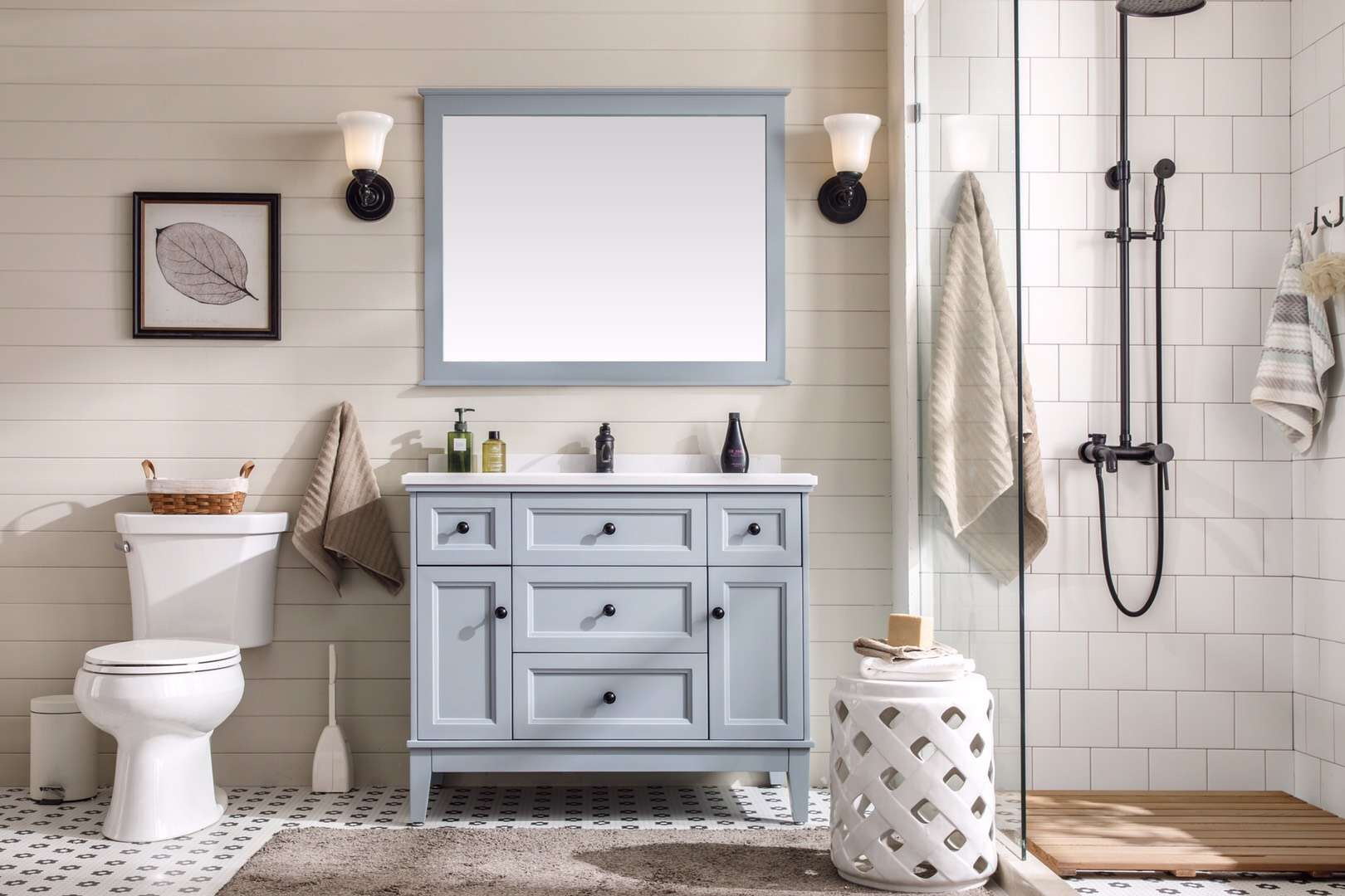 40inch Light Grey Bathroom Vanity Cabinet Combo With More Drawers