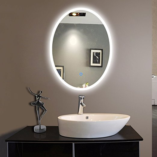 Oval Shape Bath Led Mirror With Frosted Glass Mirror