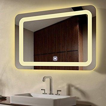 Wall Mount Led Lighted Bathroom Mirror Vanity Defogger