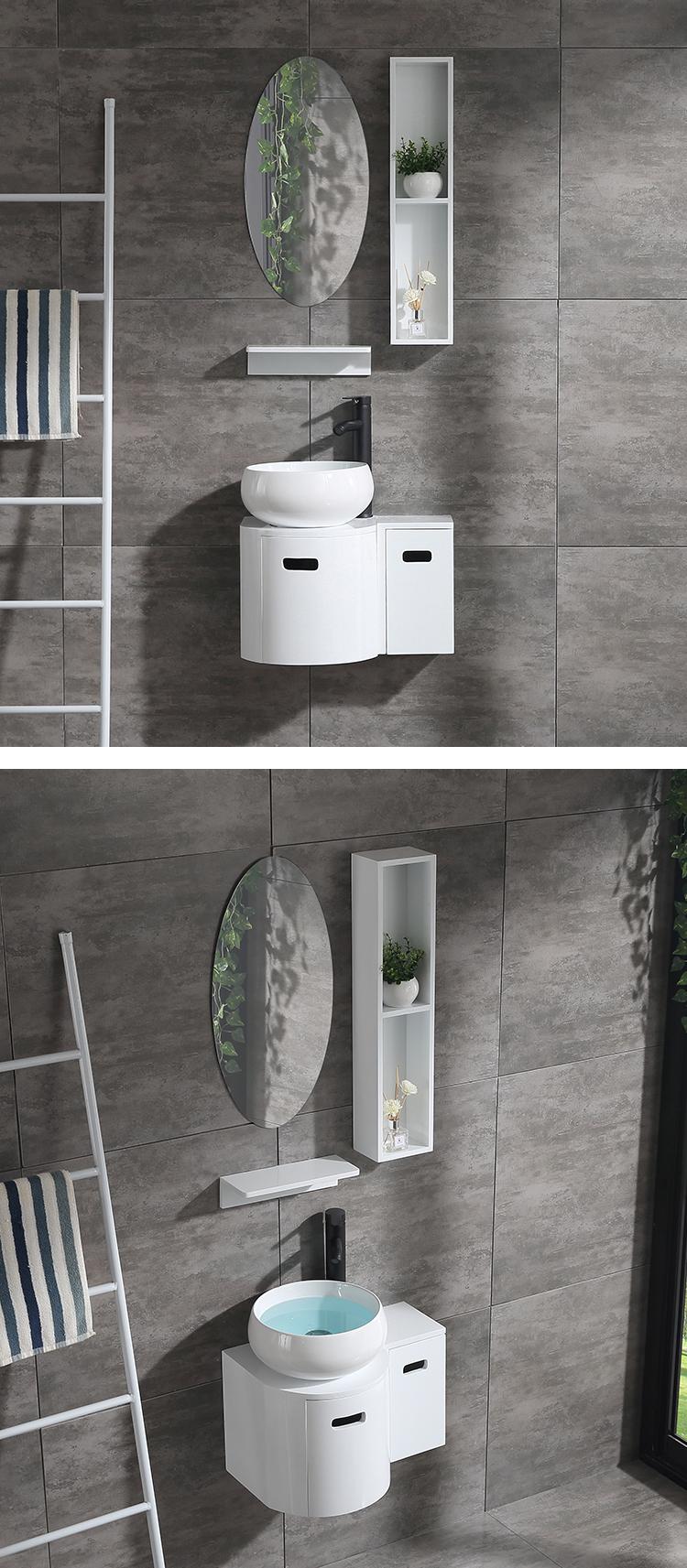 Round Bathroom Vanity Set With Oval Mirror Or Medicine Cabinet For Small Bathroom